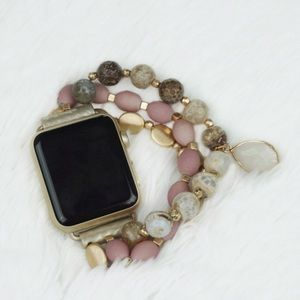 Apple Watch Beaded Pink and Gold Band